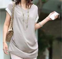 2014HOTSale Decorative buttons back v-neck ladies fashion T-shirts F6000