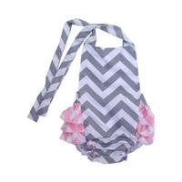 New 2014 100% Cotton ruffle chevron maxi baby girl swimwear