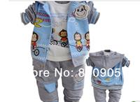Retail 1 set children monkey style clothing , boys 3 pces set clothes sets, kids jacket+ top tops +pant for autumn/spring