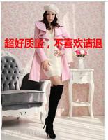 Pink large dolls 2013 autumn and winter long ruffle design woolen outerwear wool overcoat  Freeshipping IVU
