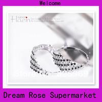 2014  Free shipping fashion crystal hoop earrings for women&girls