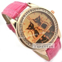 Fashion quartz watch diamond fashion mirror surface table full rhinestone young girl strap watch vintage table duomaomao