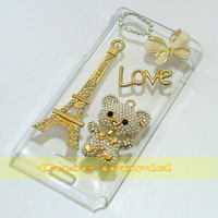 1 Pcs Handmade Bling Eiffel Tower Love Bear Clear Hard Back Case For Sony Xperia J ST26i