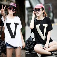 New 2014 Summer Women T Shirt Fashion Letter V Printed Blouse For Women White Black Brand Plus Size Short Sleeve Blouse T-shirts