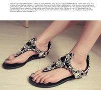 Freeshipping Lady Fashion Shoes Short Heel Summer Shoes Beading Bohemian Style Lady Casual Sandals Plus Size 34-41 B146