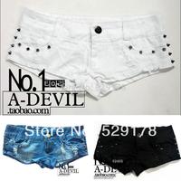 Free Shipping HOT Women Metallic Punk shorts Rivet Jeans pants Womans Denims Hot Shorts  3 color  S/M/L
