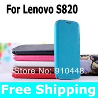 Free shipping 2pcs/lots Wallet Cover Protective Flip Leather stand cover Case for Lenovo S820
