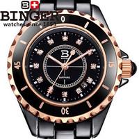 Fashion Rose Gold Plated with Decoration Rhinestone Watch Women Men Unisex Gift Watches Black Ceramic Style Golden Wristwatch