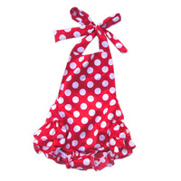 New 2014 print dot satin ruffle swimwear baby girl