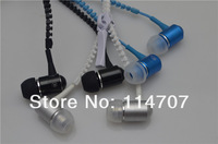 20pcs/lot New Style Stereo 3.5mm Meta Jack Earbuds Earphones l with Mic Earbuds Premium  Zipper Earphones,Free shipping