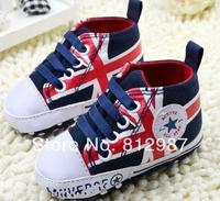 Free Shipping Wholesale 2014 Sunshine UK Flag Design Color Block Canvas Shoes Style BB Shoes/Prewalkers/Infant Shoes
