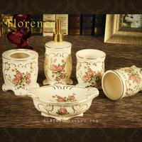 Bathroom supplies kit fashion five pieces bathroom set ceramic bathroom set ware group rose porcelain ivory
