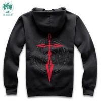Fate zero Saber cosplay costume women men black sweatshirt hoodie coat
