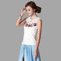 2014 spring and summer applique embroidered o-neck lace knitted slim vest