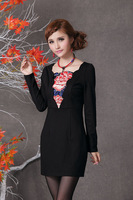 8902 2014 spring slim embroidered one-piece dress basic skirt long-sleeve dress