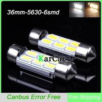 10PCS/Lot 36mm LED Canbus Error Light Bulbs, C5W Super Bright 5630 6 LED C10W Car Dome Light Lamp Wholesale Festoon Lights