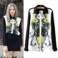 2014 New Arrival New Button Regular Europe Fashion Brands Women High Quality Blouses Shirts Retro Chiffon Sleeved Shirt Shipping
