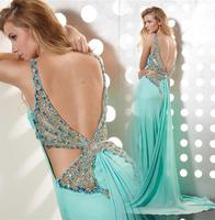 Luxury handmade butterfly rhinestone sexy deep-V long formal racerback dress costume