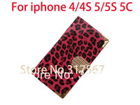 400pcs/Lot DHL Free Shipping High Quality Luxury Crystal Diamond Leopard PU Leather Wallet Case For iphone 4 4S 5 5S 5C