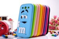 10pcs/lot  new arrival hot soft silicone colorful cute scented rainbow bean M case For samsung galaxy s3 i9300 ,Free shipping