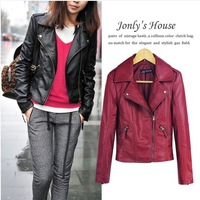 Top selling 2014 spring women pu leather jacket lady motorcycle coat short design slim leather made free shipping