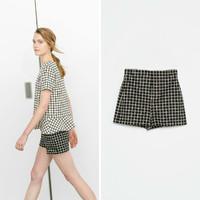 Newest Europe&America Women Vintage Plaid Black White Shorts ,Ladies Fashion Casual Hot Shorts k45