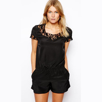 2014 new fashion For nec  k lace patchwork silky elastic waist short design double pocket jumpsuit haoduoyi
