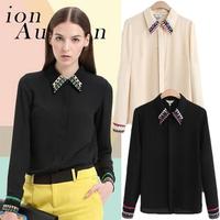 Hot 2014 Europe Fashion Brands Women High Quality Blouses Shirts Embroidery Lapel Chiffon Shirt Black Beige Free Shipping