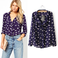 Shipping Real Special Offer 2014 Europe High Quality Fashion Brands Women Blouses Shirts Little Swan Long-sleeved Chiffon Shirt