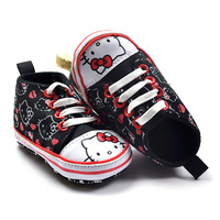 Brand Hello Kitty Baby girl's black/white canvas sport first walkers shoes