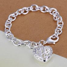 Free Shipping  Jewelry 925 Silver Bracelet 925 Silver Fashion Jewelry Bracelet The stereo hearts crude Bracelet japa LH269(China (Mainland))