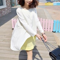 2014 fashion faux two piece set maternity spring one-piece dress loose long-sleeve maternity dress chiffon skirt