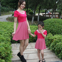 Family fashion summer family set 2014 short-sleeve clothes for mother and daughter clothes for mother and son 100% cotton
