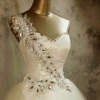 2014 spring sexy one shoulder sparkling rhineston wedding dress coustom free shipping