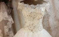 2014 luxury lace slit neckline dream glass rhinestone wedding dress custom free shipping