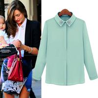 Free Shipping 2014 Europe Women Fashion Brands High Quality Shirts Beading Collar Single breasted Chiffon Shirt White Green XL