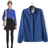 Hot 2014 Europe High Quality Women Fashion Brands Shirts Collar Beading Chiffon Shirt White Blue Free Shipping