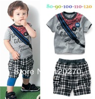 Free Shipping Summer Baby Boys Letter Star T-shirt Plaid Slacks Short Pants Infant Toddler Two-Piece Suit Children's Outfits Set