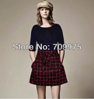 2014  New arrival women fashion dress plaid classic   thin skirt Women's  elegant  style Free Shipping