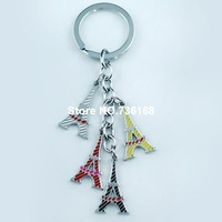 Free shipping chaveiros creative metal building pendant colorful lady souvenirs wholesale fashion enamel keyring eiffel tower