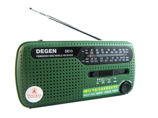 DEGEN portable mini fm radio DE13 FM MW SW Crank Dynamo Solar Emergency Radio World Receiver A0798A Fshow(China (Mainland))
