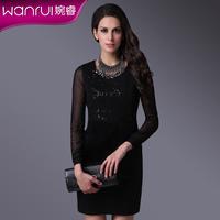 Basic sleeveless one-piece dress women's 2014 spring paillette elegant slim vest one-piece dress