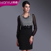 Basic sleeveless one-piece dress 2014 spring women's ol slim houndstooth vest one-piece dress