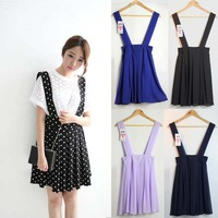 2014 spring women's preppy style polka dot braces skirt sweet chiffon one-piece dress female bust skirt