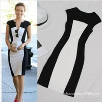 Hot Sale Women Dress European and American fashion sexy V-neck dress foreign trade black and white pencil stitching lady dress