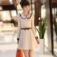 2014 spring women's peter pan collar slim elegant long-sleeve dress female ol long-sleeve skirt