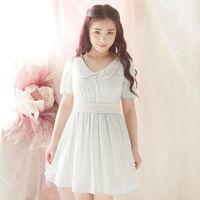 2015 New Spring Summer Dress  Lace Collar Chiffon  Tall Waist Fair Maiden Dress Preppy Style W23102