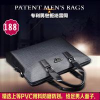 Male handbag business casual male shoulder bag color block decoration fashion briefcase laptop bag  fashion style