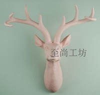 Resin pink lucky deer wall mural animal head crafts decoration gift wall  home decor
