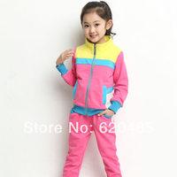 Free shipping Children's clothing female child spring 2014 child spring child baby colorant match clothes sports set